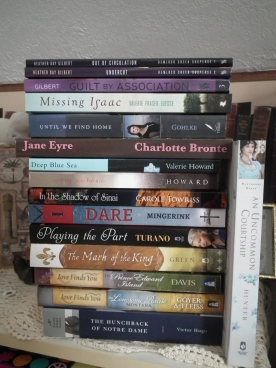 Bottom four were book trades, Jen Turano was a giveaway win, I purchased the next 4 Indie books, Jane Eyre thrift store, and the next three are review books, and the top two: one was a give-away win, the other I purchased on CBD. :)
